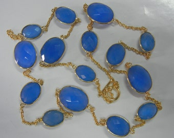 "32"" Blue Chalcedony Bezel Set Necklace with Gold Plated Over Sterling Silver"