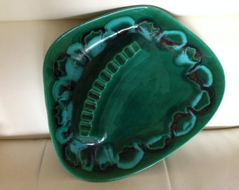 Vintage Mid Century Modern 1960's Mad Men Era Drip Glaze Blue Green Ashtray Large