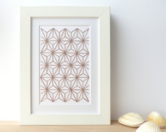 Hand embroidered card taupe geometric pattern-craft card-writing-decoration-contemporary textile design-gift-birthday-thank you-art card