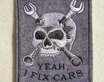 "Mechanic, Iron on Patch, Skull, Wrench, Auto Mechanic, Embroidered Patch, 3.4"" X 4.4"""