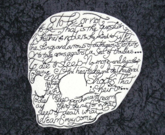 Shakespeare To Be or Not to Be Skull Iron on Patch