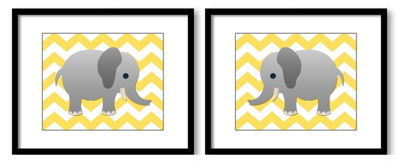 Yellow Lemon Chevron Grey Elephant Nursery Art Nursery Print Set of 2 Elephants Child Art Prints Boy