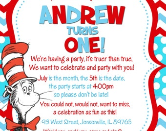 Dr. Seuss Cat in the Hat Birthday Party Invitation -Digital or Printed