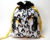 Drawstring Project / Storage Bag - Penguins Everywhere