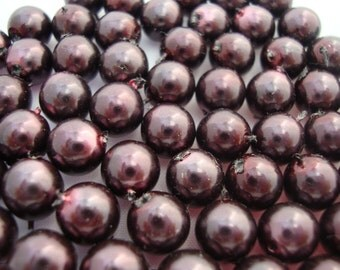 30 pcs 8mm Czech glass pearls - dark burgundy