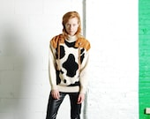 SALE 30% off! Vintage 80s COW Spots Suede Western Strong Shoulder Chunky Knit Sweater