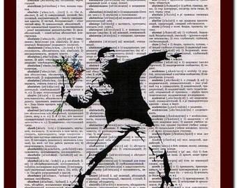 Banksy Poster Wall Decor Art Print: upcycled musical Notes Art Print