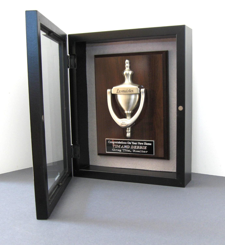 Door knocker plaque engraved shadow box satin nickel for Custom made door knockers