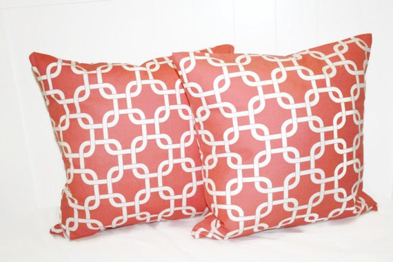 Items similar to Coral Pillow Cover, 12x16 Pillow Cover, Geometric Throw Pillow, Decorative ...