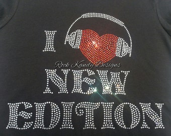 New Edition I Love New Edition Bling Rhinestone Tee