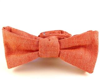Men's Self Tie Bow Tie - Orange Chambray Bow Tie - Solid Orange Bow tie for Men - Casual Bow Tie for Wedding - Adjustable Cotton Bow Tie -