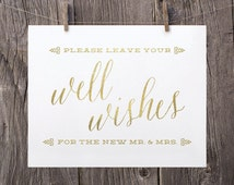 8x10 Printable Wedding Signs, Guest Book Sign, Wedding Well Wishes Sign Gold and White Wedding Reception Sign Well Wishes for the Mr and Mrs
