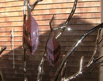 "Stunning ""Mirror/Mirror"" dangle handmade glass beaded earrings Steampunk copper & lavender"