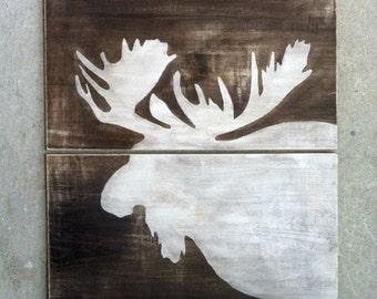 MOOSE WOOD SIGN- Wood Moose Art- Rustic Cabin Decor