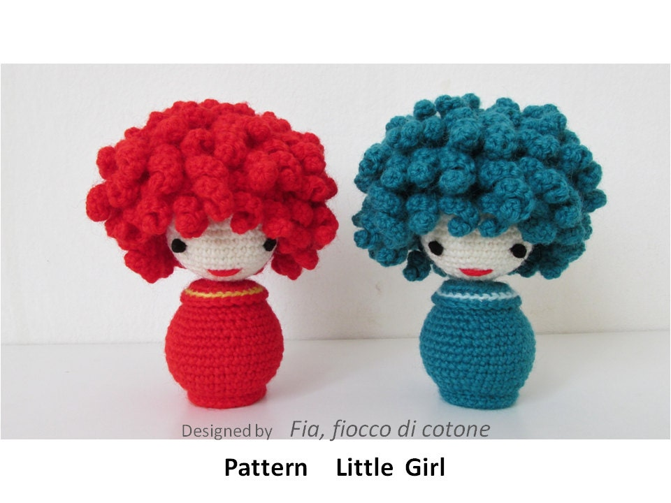Miniature Amigurumi Doll : Pattern little girl miniature doll amigurumi by cottonflake