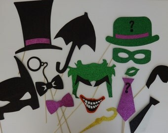 Super Hero Party Bat Inspiered  Photo Booth Party Props Pinguin Ridler Bat