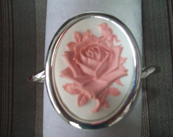 Big and Bold Pink and White Rose with Rosebud Cameo Bracelet