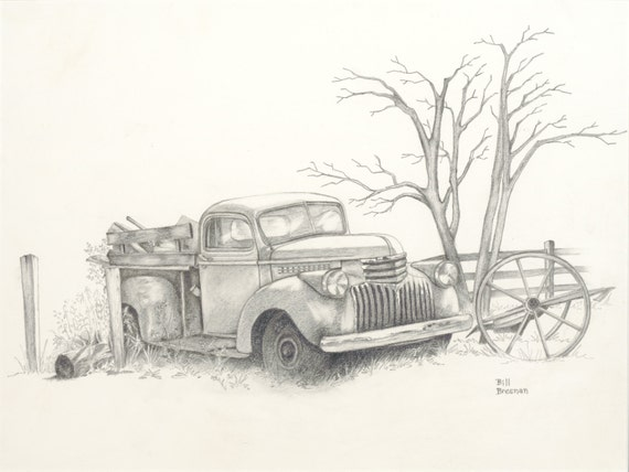 how to draw a old ford truck