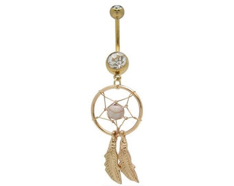 Belly Ring Beautiful Goldtone DREAM CATCHER White Bead Clear Gems Curved Feathers 14 gauge Stainless Steel Navel Piercing Jewelry