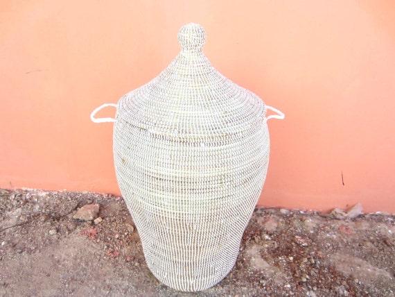 Large White Laundry Basket Tall Hamper Elegant By