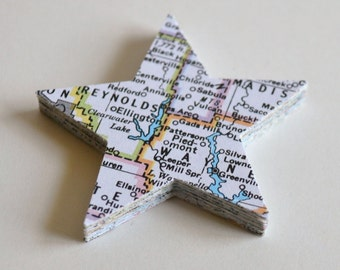 atlas star die cuts, atlas star confetti, map confetti, going away confetti- 30 pieces