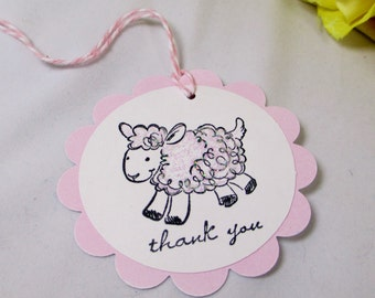 Baby Shower Gift Tags - Pastel Pink Lamb Girl New Baby Thank You Favor Candy Bag Tag Hand-Stamped Glitter Sheep with Ribbon Set of 10