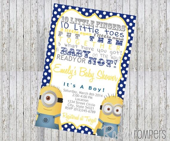 minion inspired baby shower invitation  etsy, Baby shower