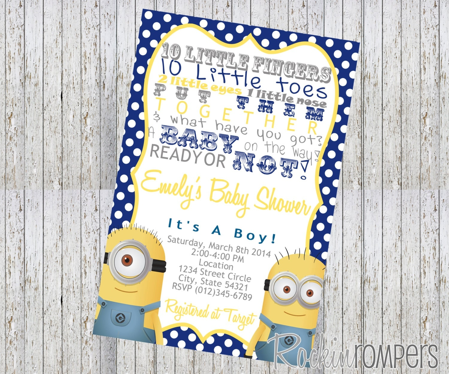 minion inspired baby shower invitation