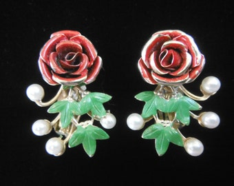 Rose And Faux Pearl Earrings, By Star, Vintage 1950's