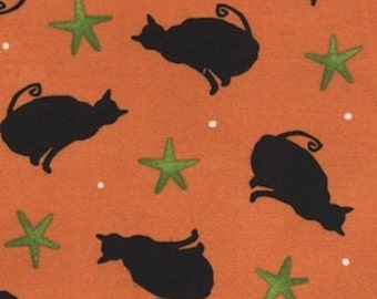 Ghouls Night Out Halloween, Black Cats on Orange, Maywood Studio (By 1/2 yd)