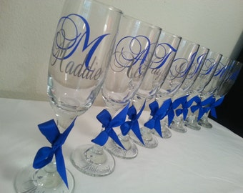 Personalized champagne flute PERFECT for bride & bridesmaids wedding and bachelorette choose your vinyl colors