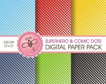 DIGITAL printable SUPERHERO / Comic Dots paper pack For: scrapbooking - invitations - crafts