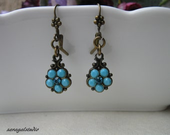 Turquoise Earrings, Wedding jewelry, Vintage earrings, Vintage jewelry, Bridesmaids Gift, For every Woman