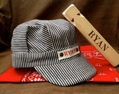 Personalized Train Engineer Hat Personalized Train Whistle and Red Bandana Ring Bearer Gift Adjustable Kids Hat, Kids Train Conductor Hat