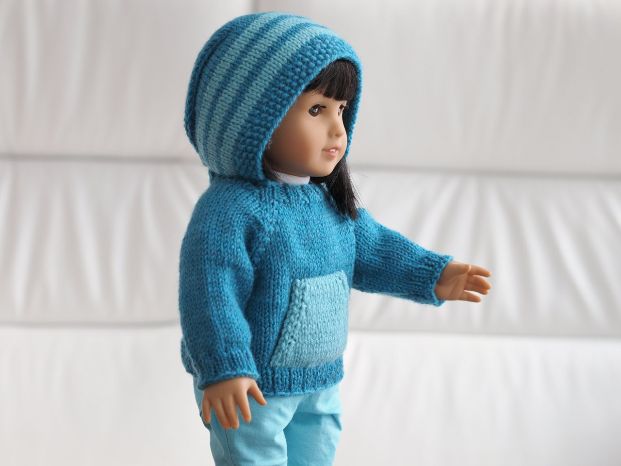 Kangaroo Hoodie Knitting Pattern : Kangaroo Campfire Hoodie Knitting Pattern for 18 Inch Dolls