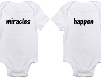 Twin oneseis bodysuits great for baby shower or party Miracles Happen pair under 25 dollars