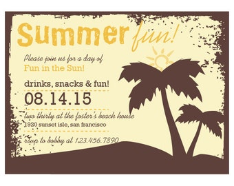 Palm Trees - Grunge  Summer Party Invitation