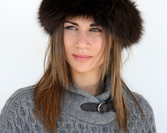 Warm winter Hat for Women with suede Leather and  Fox fur