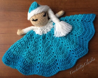Queen Elsa Inspired Lovey/ Security Blanket/ Amigurumi Doll/ Crochet Elsa Doll-- Made To Order