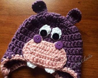 CrochetLittle Miss Hippo Beanie/ PhotoProp/Hippo Beanie/Made to Order