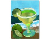 "Margaritaville - NOSTALGIA CARD - 5""x7"" Collage Art Card - South of the Border -Tropical Treat - Honeymoon - Retro Art Card (CMEM2013080)"