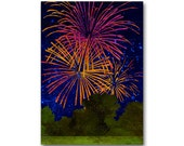 "4th of July Fireworks - NOSTALGIA Card - 5""x7"" Collage Art Card - Childhood Memories - Celebration - Summer Party Invitation (CMEM2013111)"