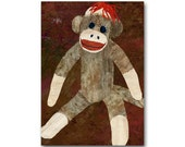 Sock Monkey - Child's Room Decor - Childhood Memories - CARD or PRINT - Doll Collector - Vintage 1950's Retro Art Card (CMEM2013116)