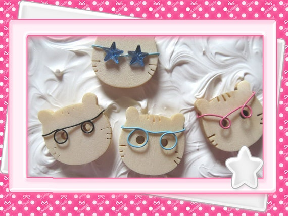 0: )- CABOCHON -( WOODEN Cat with Eye Glasses CUSTOM