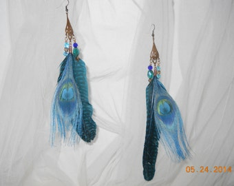 Jeweled Vintage Feather Earrings