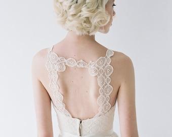 Berkeley // Chiffon Wedding Dress With Unique Medallion Lace