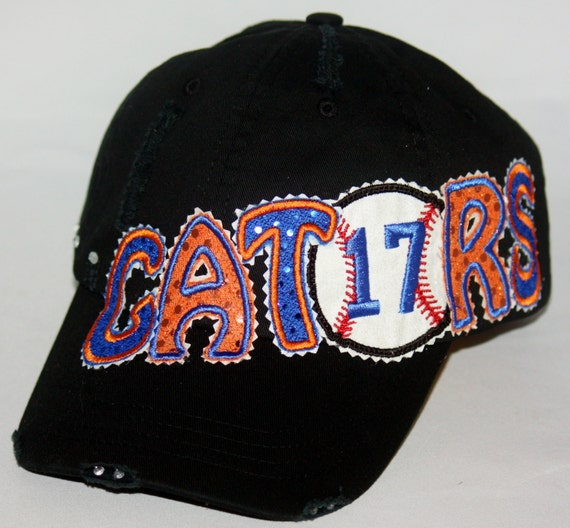 custom baseball hat gators hat embroidery applique by
