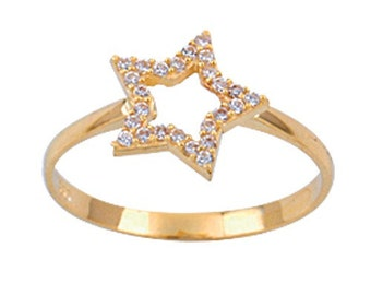 Star 14k Solid Rose Gold Ring