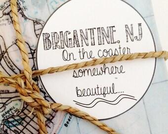 Brigantine New Jersey Vintage Map Coaster Set