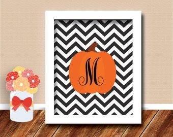 Halloween Printable Wall Art with Monogram Pumpkin - Halloween and Fall Decor